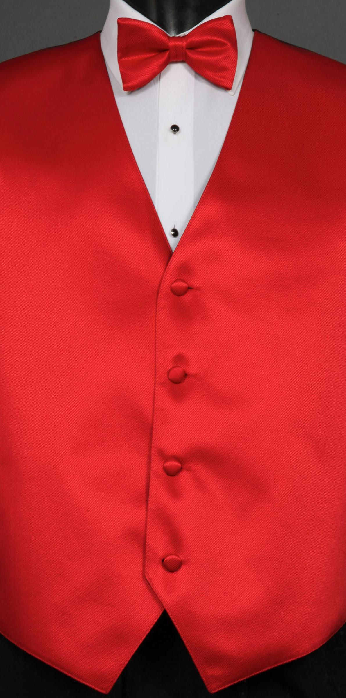 Red Savvi Solid vest shown with bow tie.  Available at #FriarTux