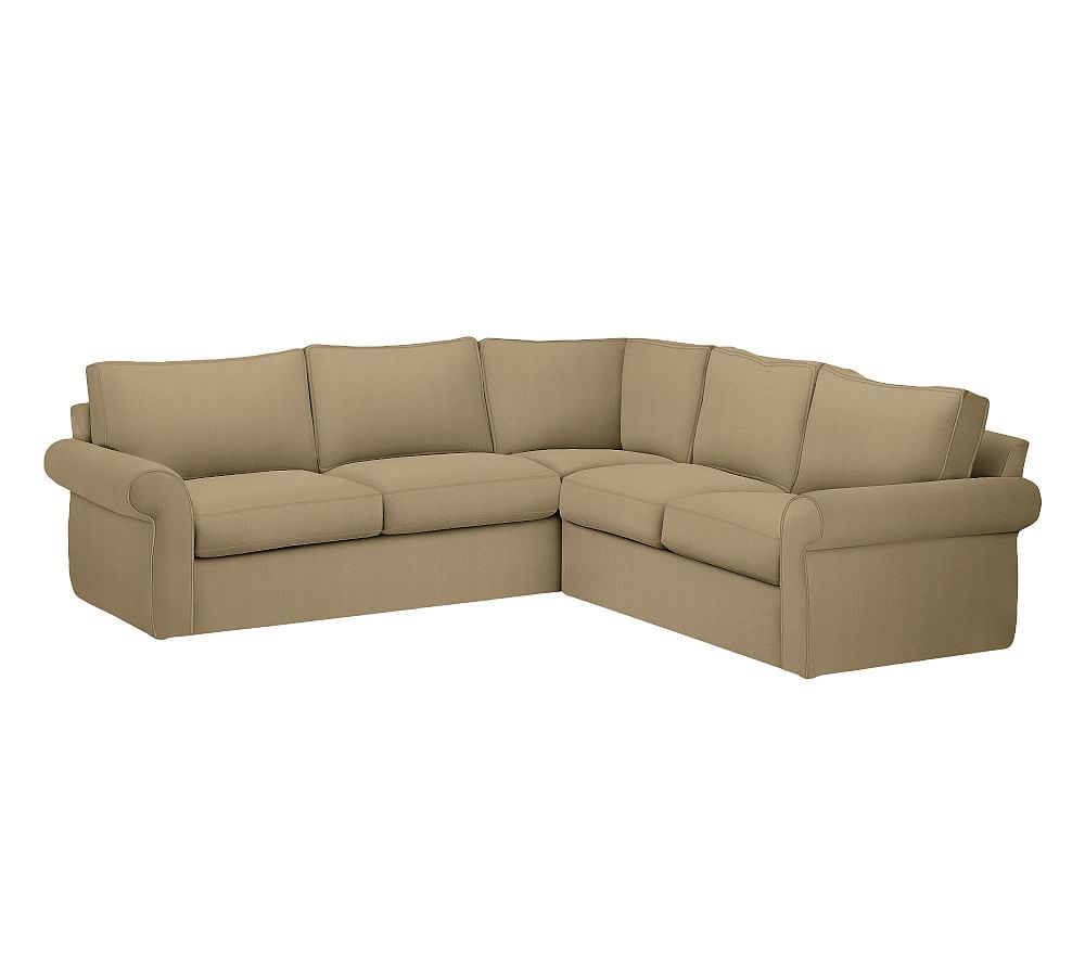 Custom Pottery Barn Pearce Slipcover: Pearce Roll Arm Slipcovered 2-Piece L-Shape Sectional