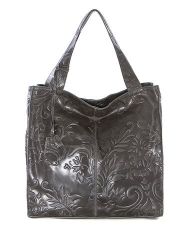This Dark Gray Floral-Embossed Leather Shopper is perfect! #zulilyfinds