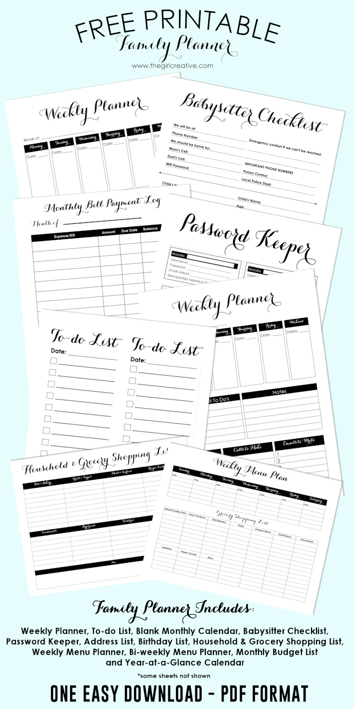 Free Printable Family Planner  Blank Calendar Template Password
