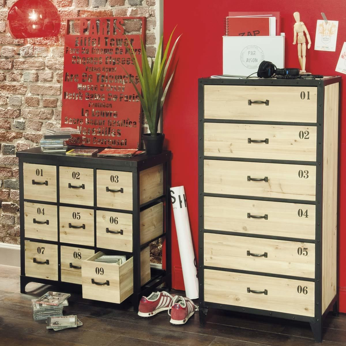 cool cassettiera settimanale docks with buffet industriel maison du monde. Black Bedroom Furniture Sets. Home Design Ideas