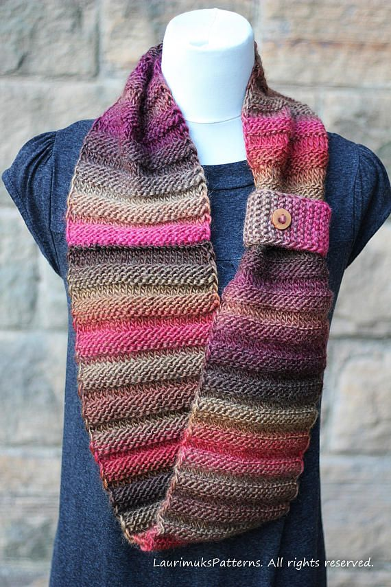 Knitting Pattern Walnut Infinity Loop Scarf Womens Scarf