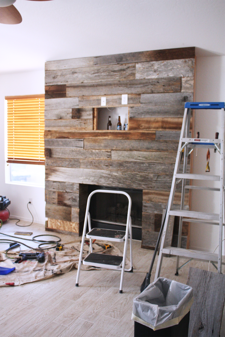 DIY Reclaimed Wood Fireplace   Beer, TVs and Basements