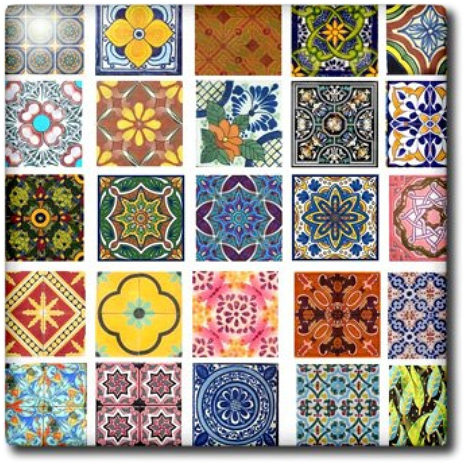 3drose Ct 157470 4 Collage Of Colorful Mexican Tiles Ceramic Tile 12 Inch Check This Awesome Product By Going To The Link At Mexican Tile Boho Tiles Tiles