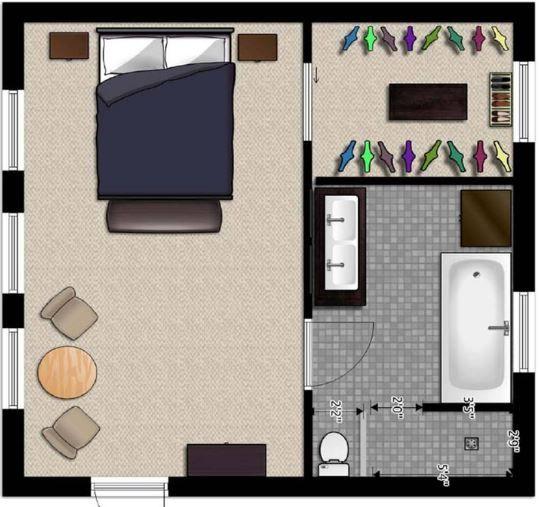 Planos de un dormitorio con su ba o de 4x4 dormitorio for Decoracion dormitorio 4x4