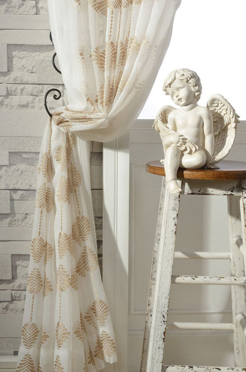 A Pair Of Gold Leaf Patterned Embroidey Sheer Curtains Made To