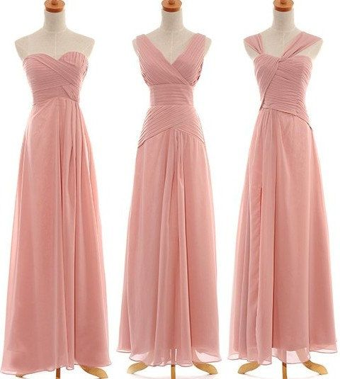 Long Blush Chiffon Bridesmaid Dress Fashion Prom Dress ...