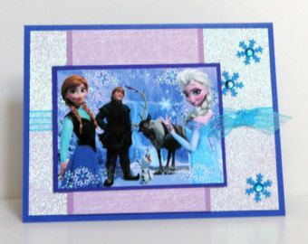 Frozen Birthday Cards - Anna and Elsa - Handmade Kids Birthday Cards - Disney Frozen Birthday Cards - Snow Flakes and Glitter - Frozen Cards