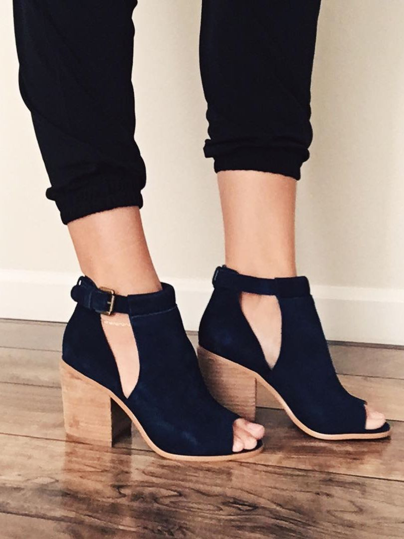 f9610bcef Navy suede block heel sandals | Sole Society Ferris