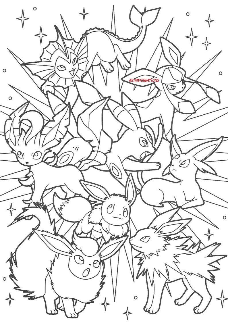 Eleven Cartoon Video Game Pokemon Cricut Eeveelutions Digital Etsy Pokemon Coloring Sheets Pokemon Coloring Pages Pokemon Coloring