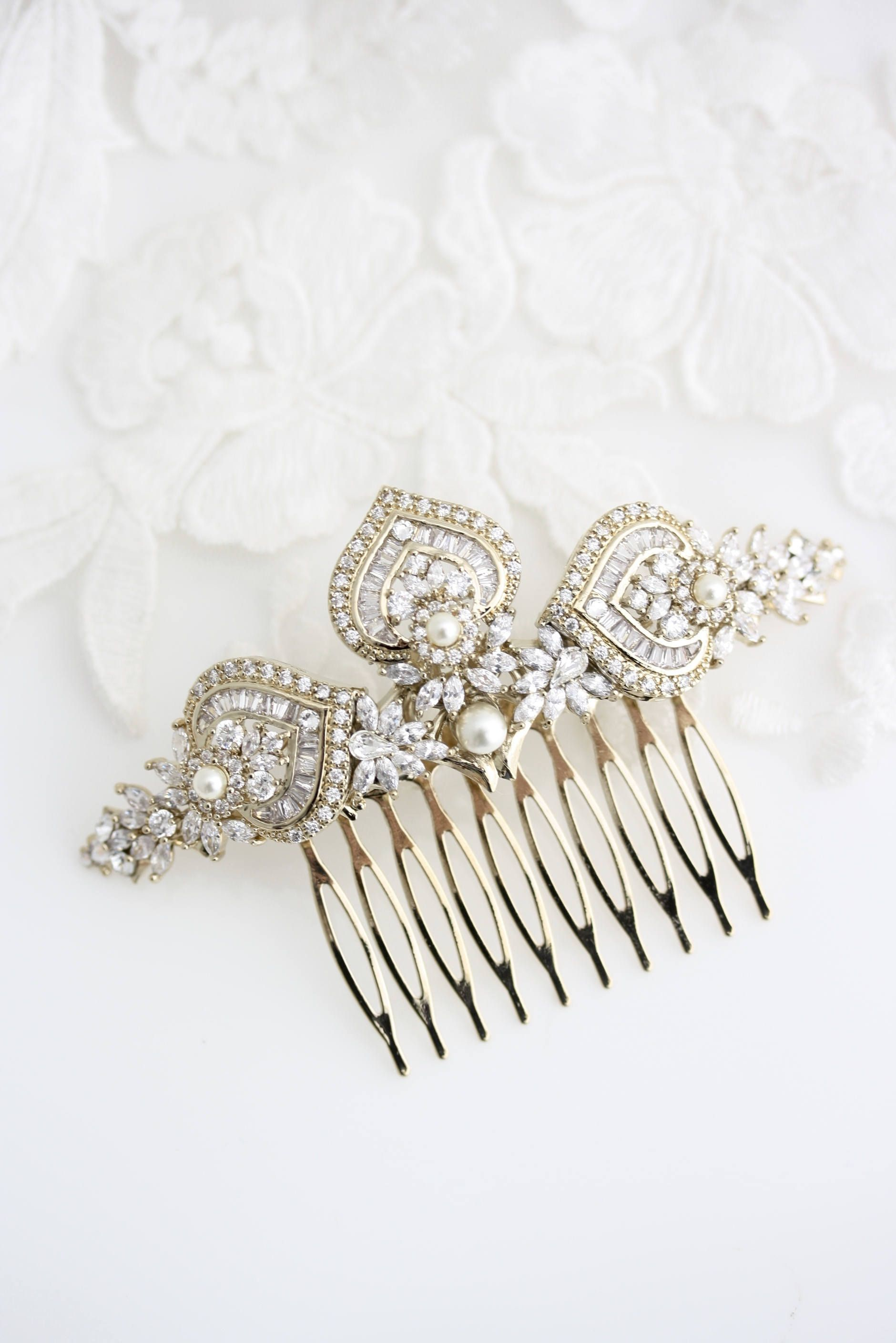 Gold Bridal Hair Comb Gold Wedding Headpiece Crystal Hair Comb Rose