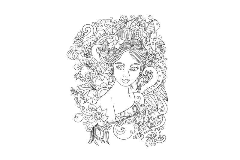 Digital Coloring Book Pages Girls And Flowers Vol 1 By Erikavectorika Thehungryjpeg Com Coloring Book Pages Coloring Books Book Pages