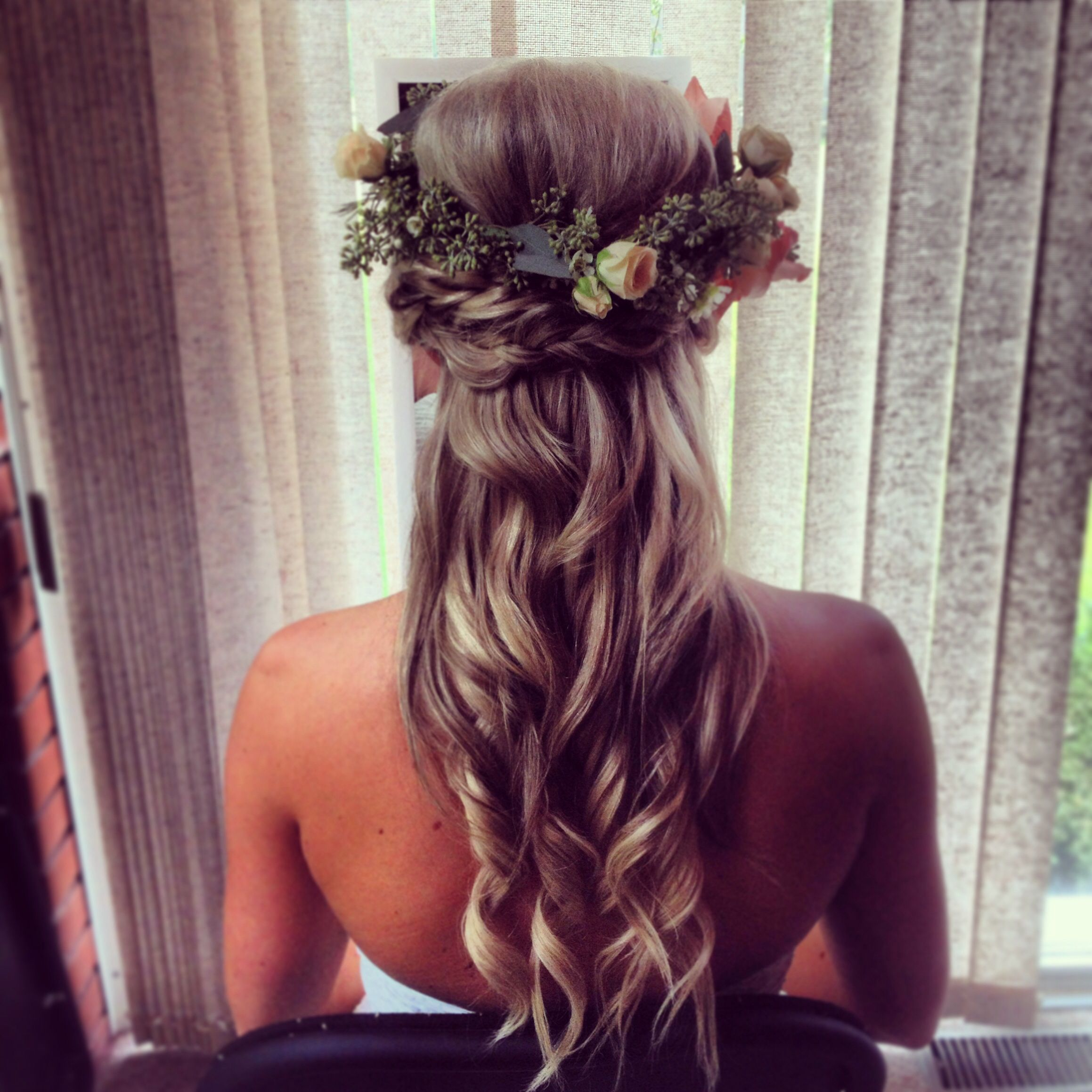 boho bridal half up hairstyle with braids and flower crown