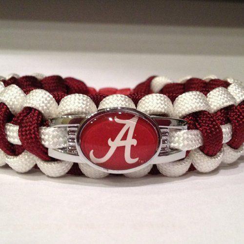 Alabama Football Paracord Bracelets Made with Team Spirited Charm