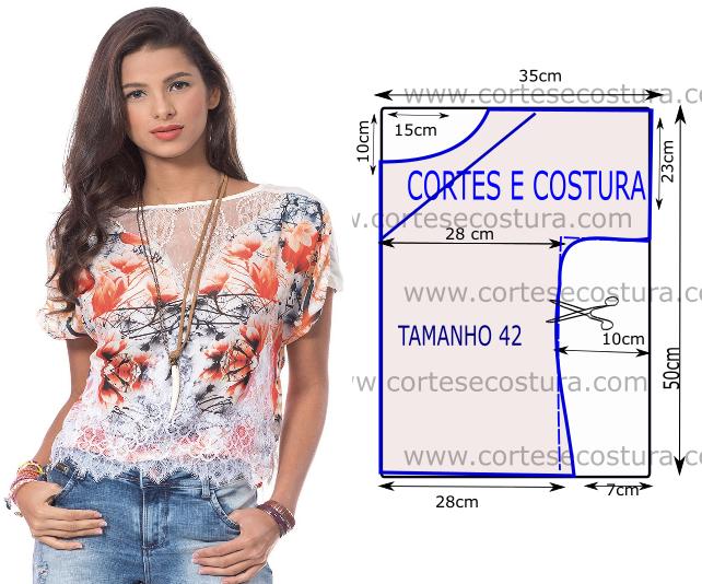 Modelo casual e simples são as principais características desta blusa com renda branca mas muito bonita. A roupa para ser bela não precisa de ser...