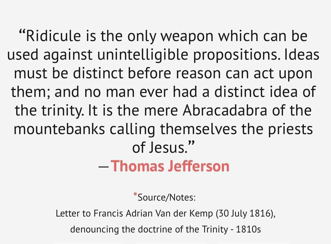 Image result for thomas jefferson on the Trinity doctrine
