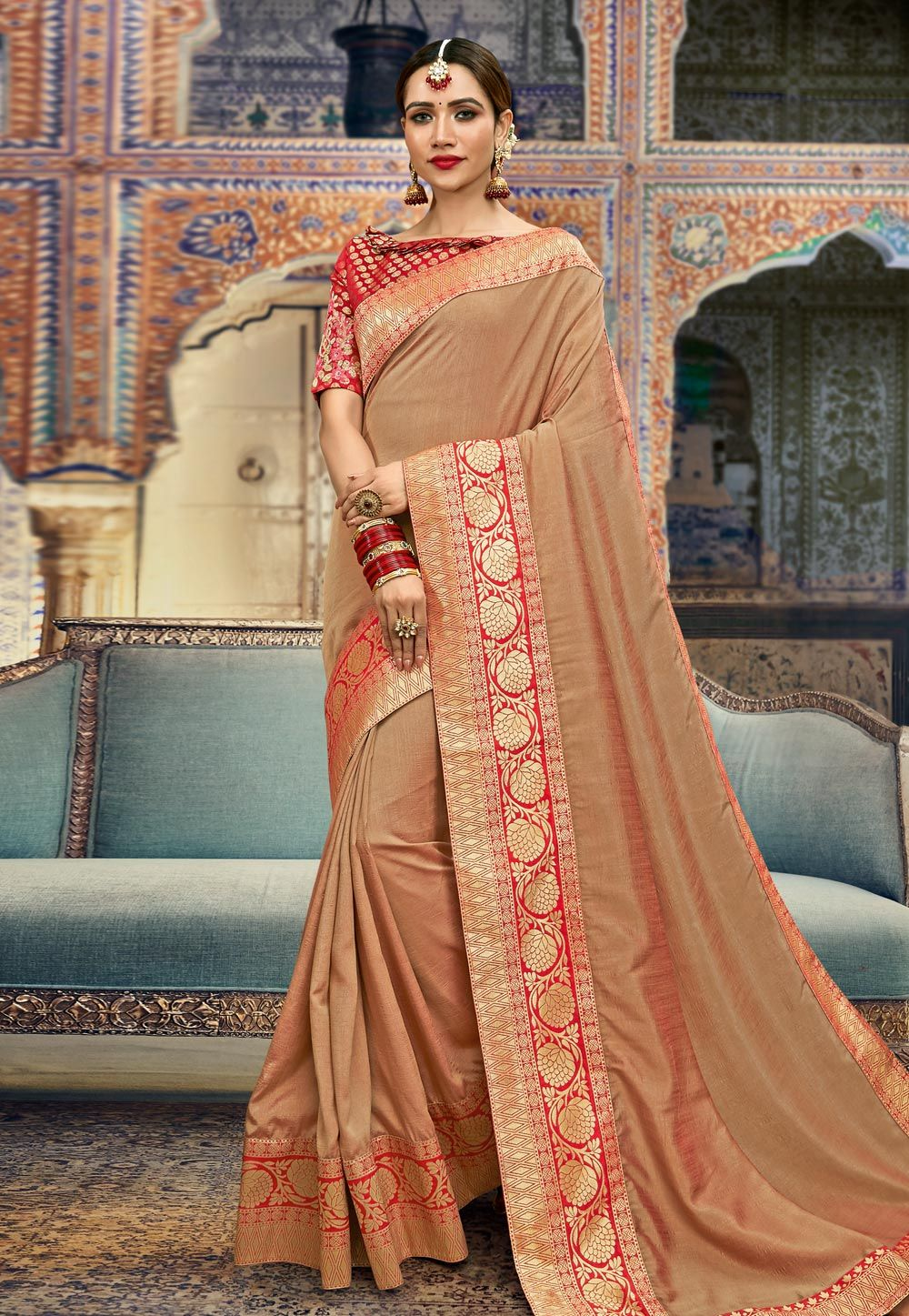 489434f86e Buy Beige Silk Saree With Blouse 167292 with blouse online at lowest price  from vast collection of sarees at Indianclothstore.com.
