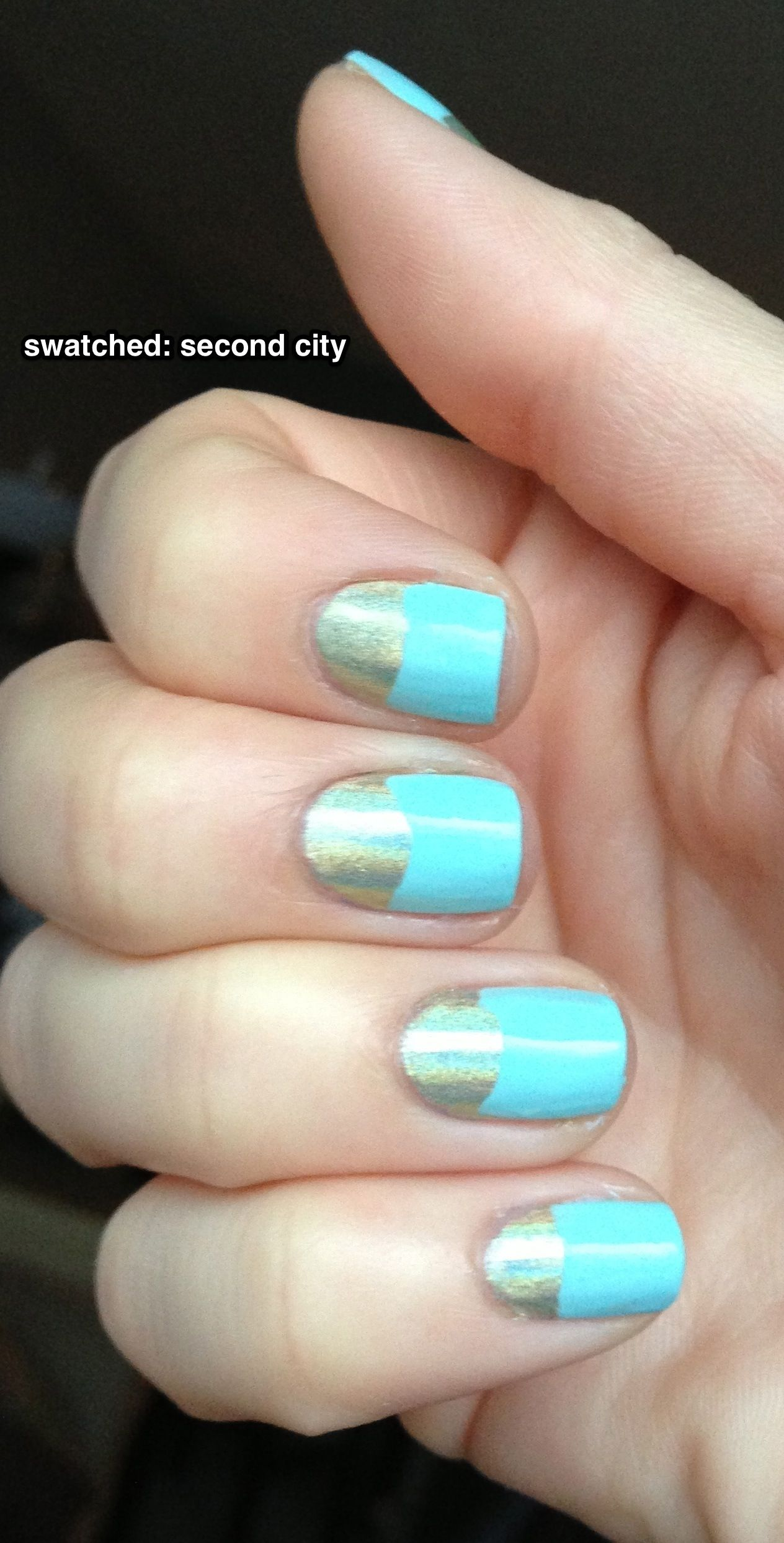 half moon nails gold and mint candy apple
