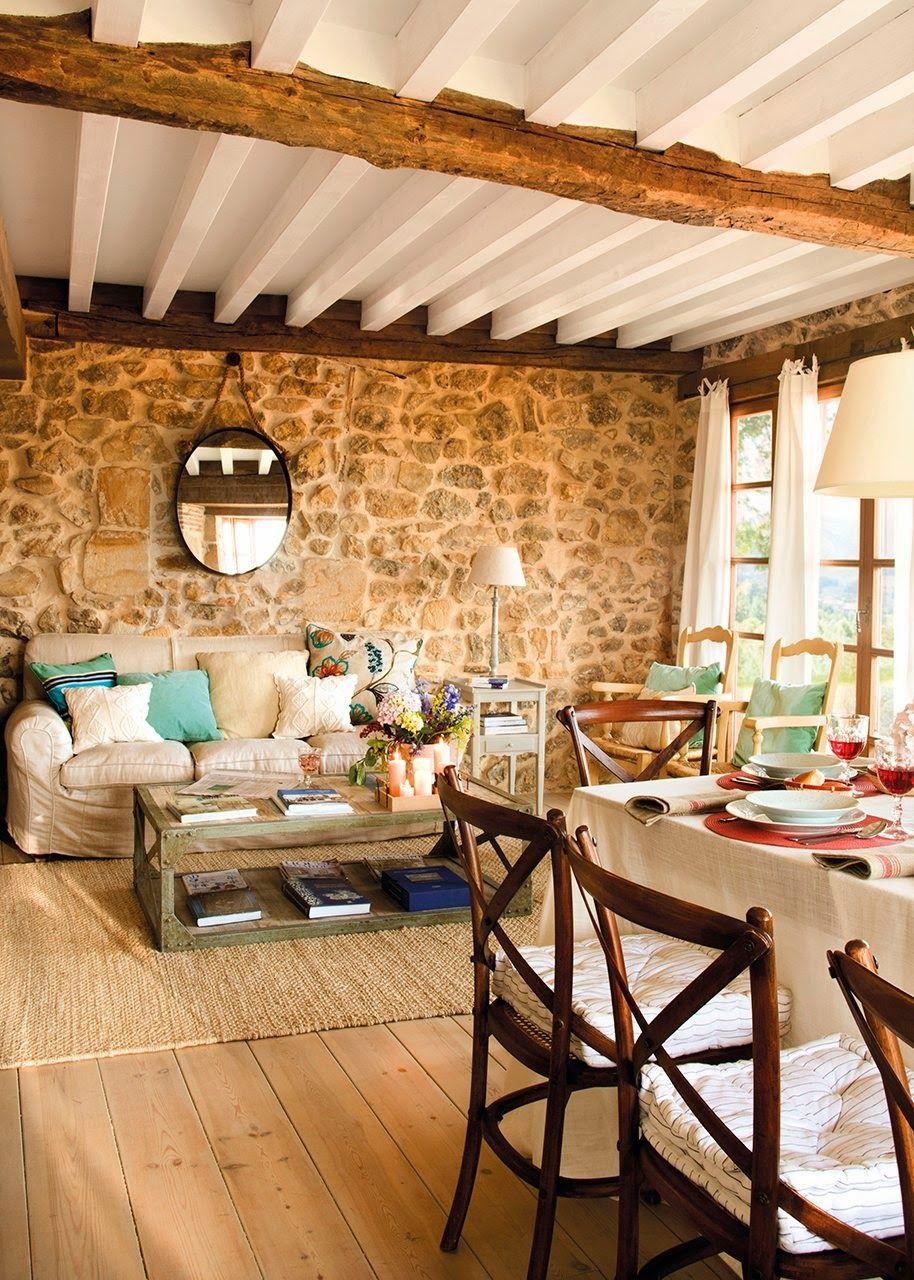 Cómo decorar una casa rústica - muro de piedra | Decoración ...