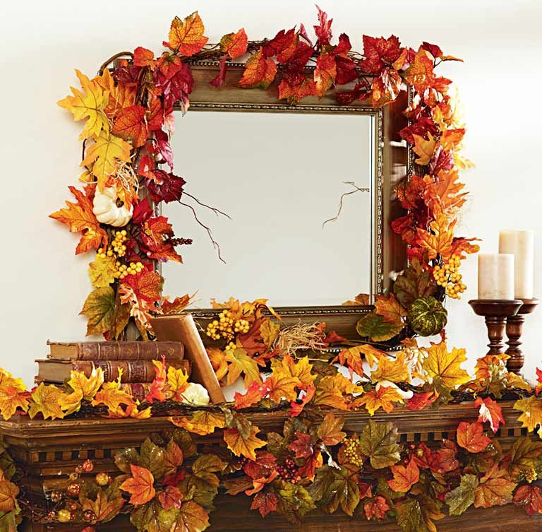 Decorate for fall by adding an autumn leaf garland to for Autumn leaf decoration