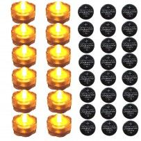 12 pack of Amber Submersible Waterproof LED Tea Lights and Replacement CR2032 Batteries