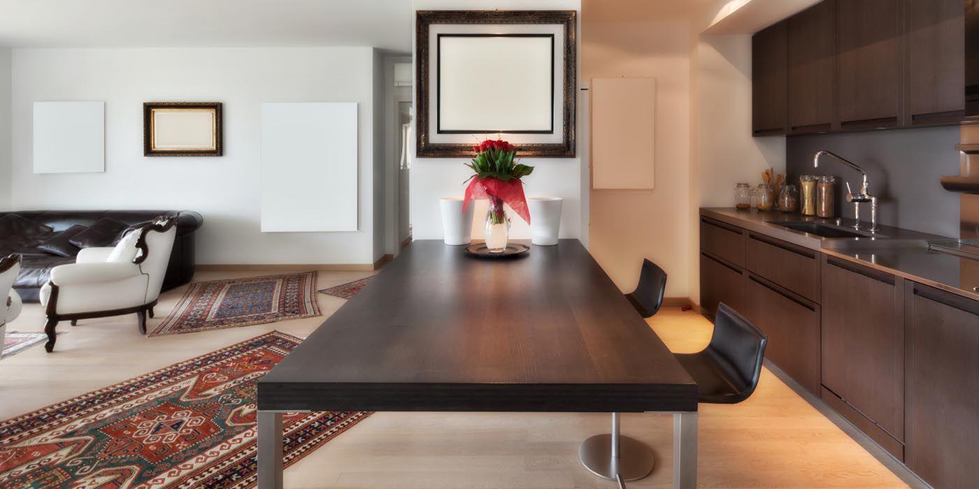 Der Läufer Küche kann perfekt auf das Küchenmobiliar oder die Wandfarbe abgestimmt werden oder er setzt einen knackigen Kontrast.