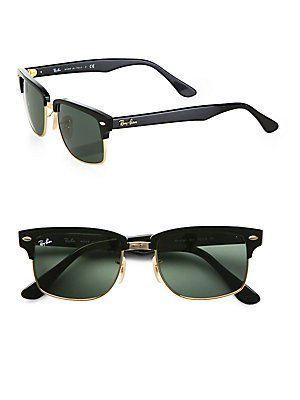 c317971240737 Ray Ban Squared Clubmaster RB4190 Sunglasses - 601 Black (G-15XLT Lens) -  52mm Ray-Ban.  101.50