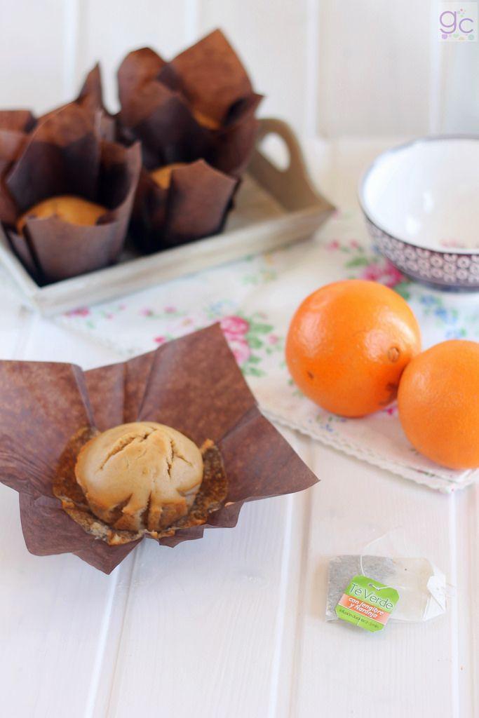 gallecookies: Muffins de té verde con jengibre y naranja (sin azúcar)