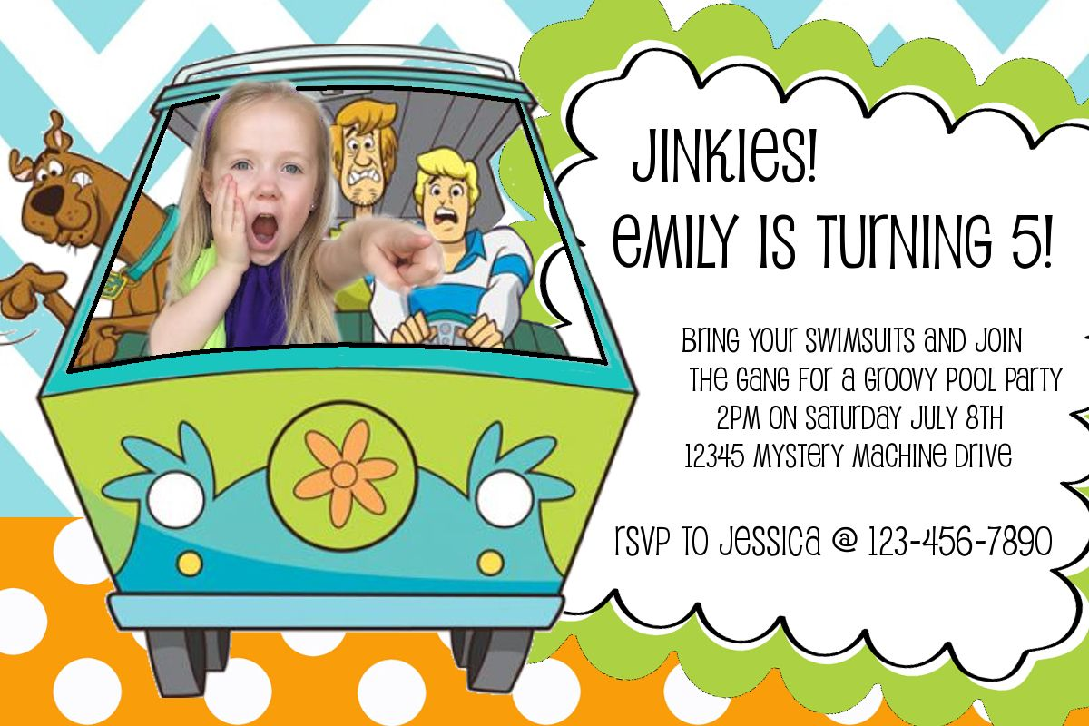 Scooby Doo birthday party invitations invite summer pool party ...