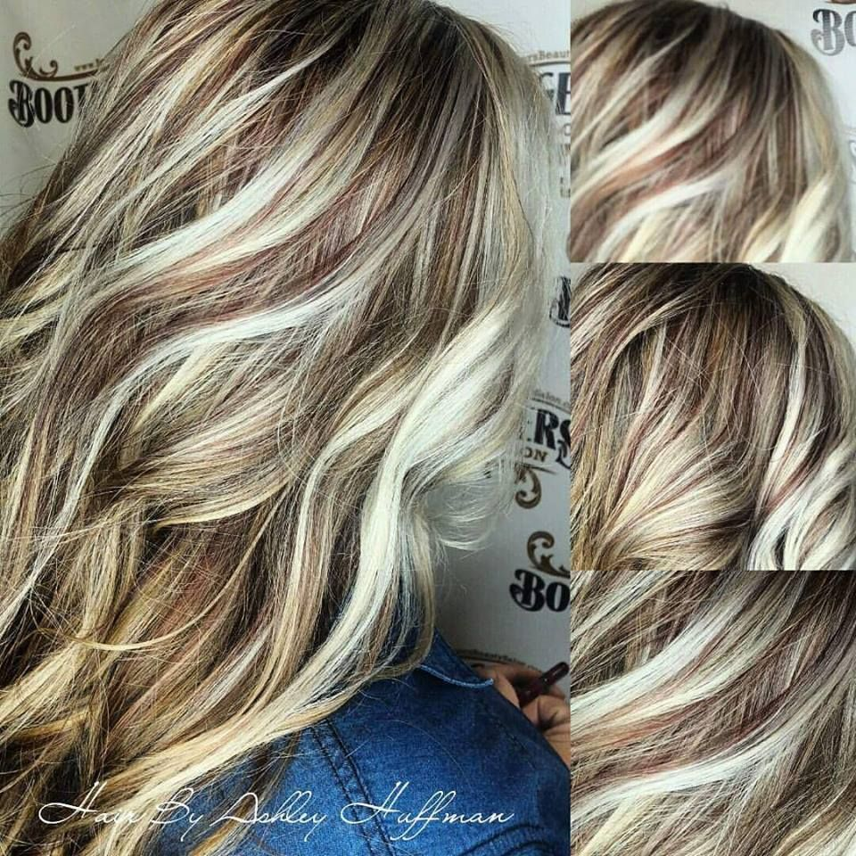 Beautiful Ice Blonde Highlights With Ginger Spice Red Low