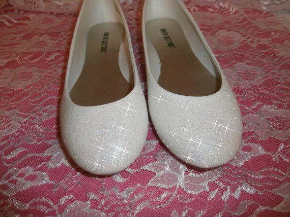 White Glitter Bridal Shoes Wedding Flats By Ashleybrooks1984 50 00