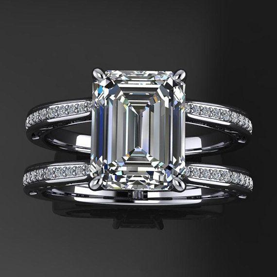87c9b8b4879db4 noelle ring - 2.5 carat emerald cut NEO moissanite engagement ring, emerald  moissanite ring