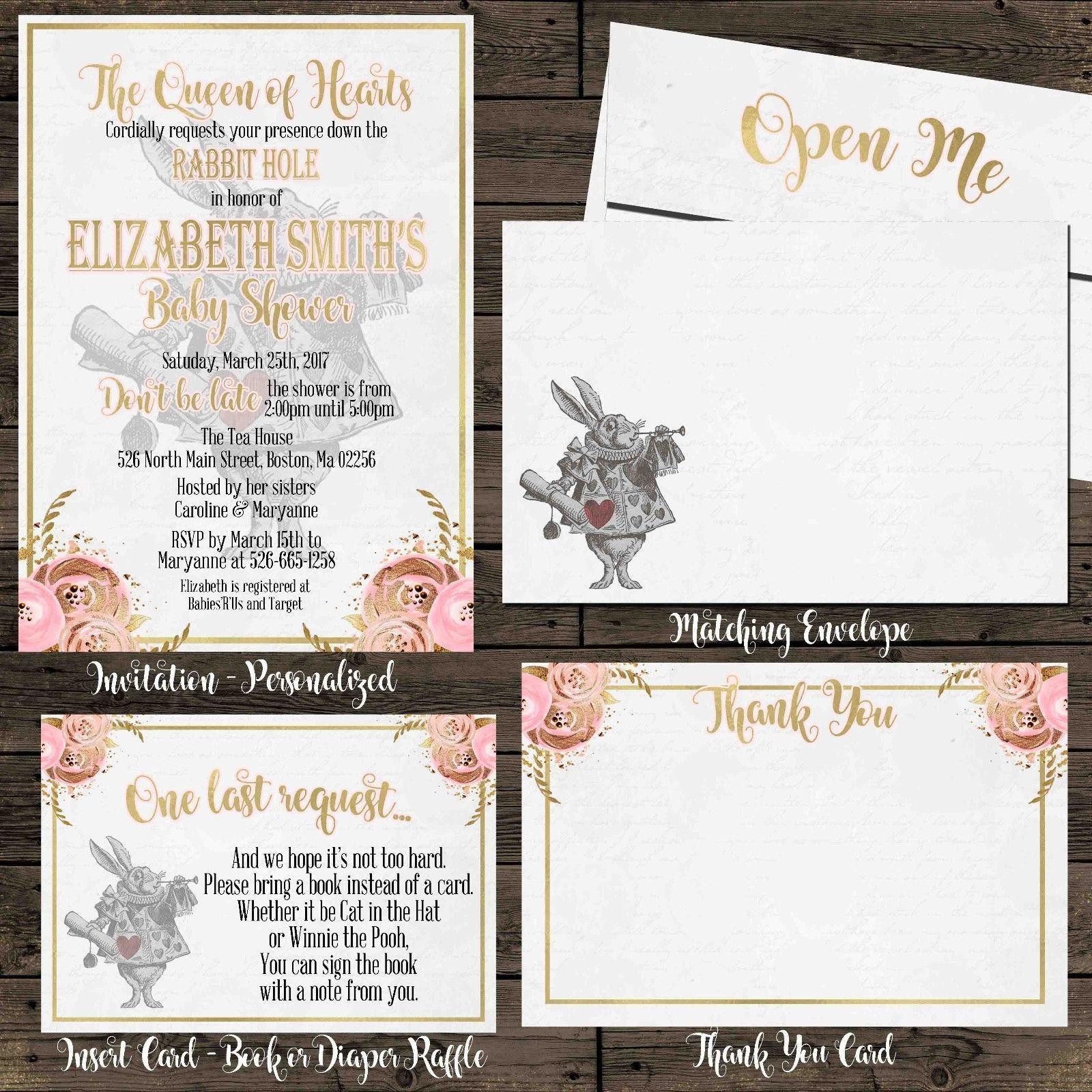 Pink Gold Alice in Wonderland Baby Shower Invitation Set of 12 ...