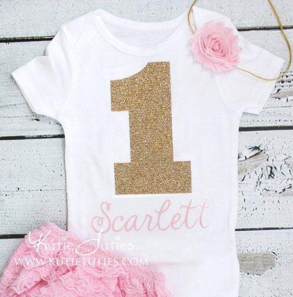Pink Glitter Gold 1 Birthday Onesie