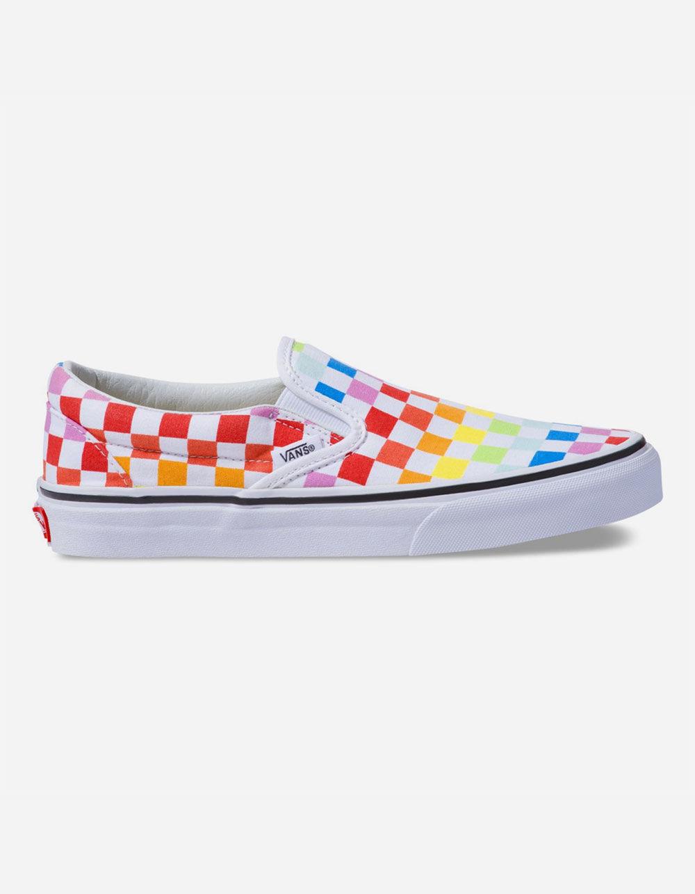 VANS Checkerboard Slip-On Rainbow Shoes