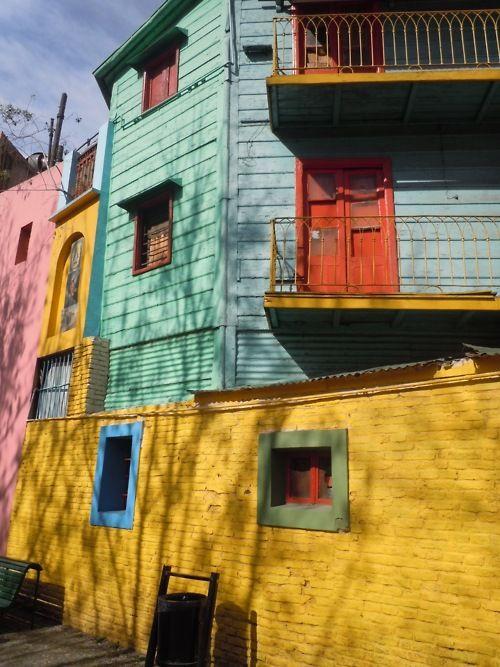 yellow building face in  la boca, buenos aires, argentina