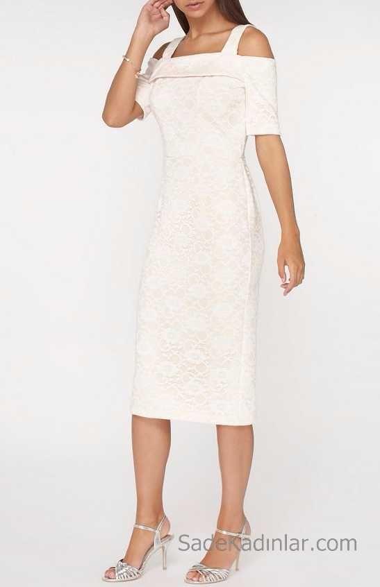 2018 Beyaz Elbise Modelleri Dantel Diz Alti Kalem Elbise Kalem Elbise Elbise Modelleri Elbise