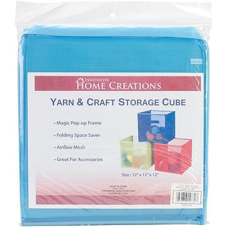 Innovative Home Creations Yarn And Craft Storage Cube Sky Blue 12x12x12 7095659 Hsn Craft Storage Cube Storage Yarn Storage