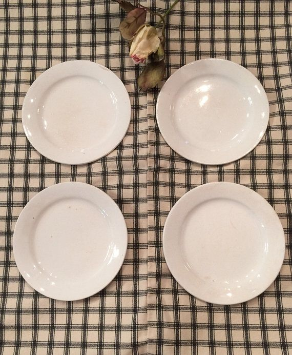 Antique Set Of 4 Ironstone Bread And Butter Plates Late