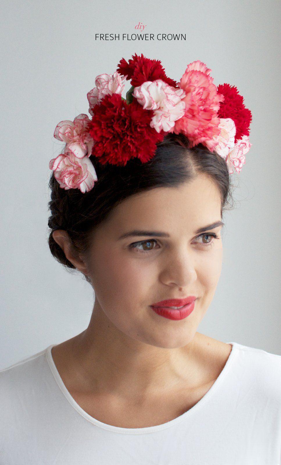 Diy fresh flower crown a pair a spare frida kahlo costume make a fresh floral crown frida kahlo costume izmirmasajfo Gallery