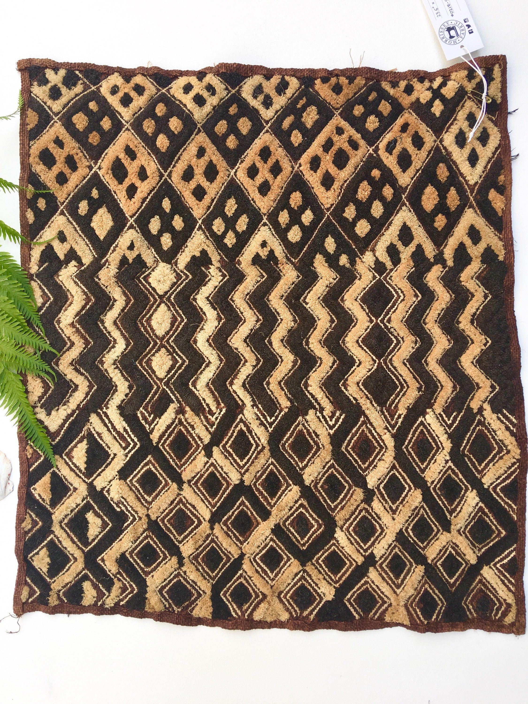 Vintage African Tribal Textile Woven Raffia Kuba Cloth Kasai Velvet