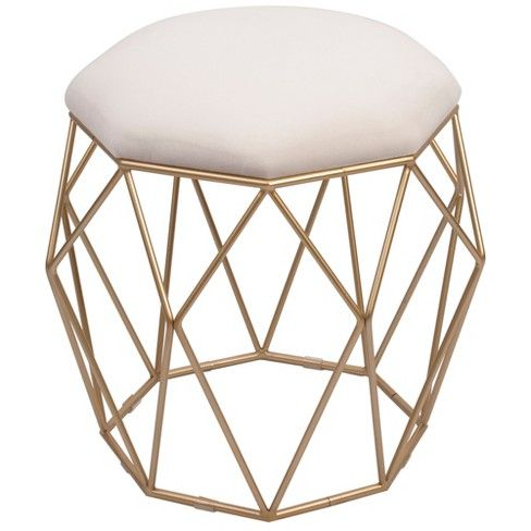 Collins Geometric Cage Vanity Stool Gold Silverwood Target