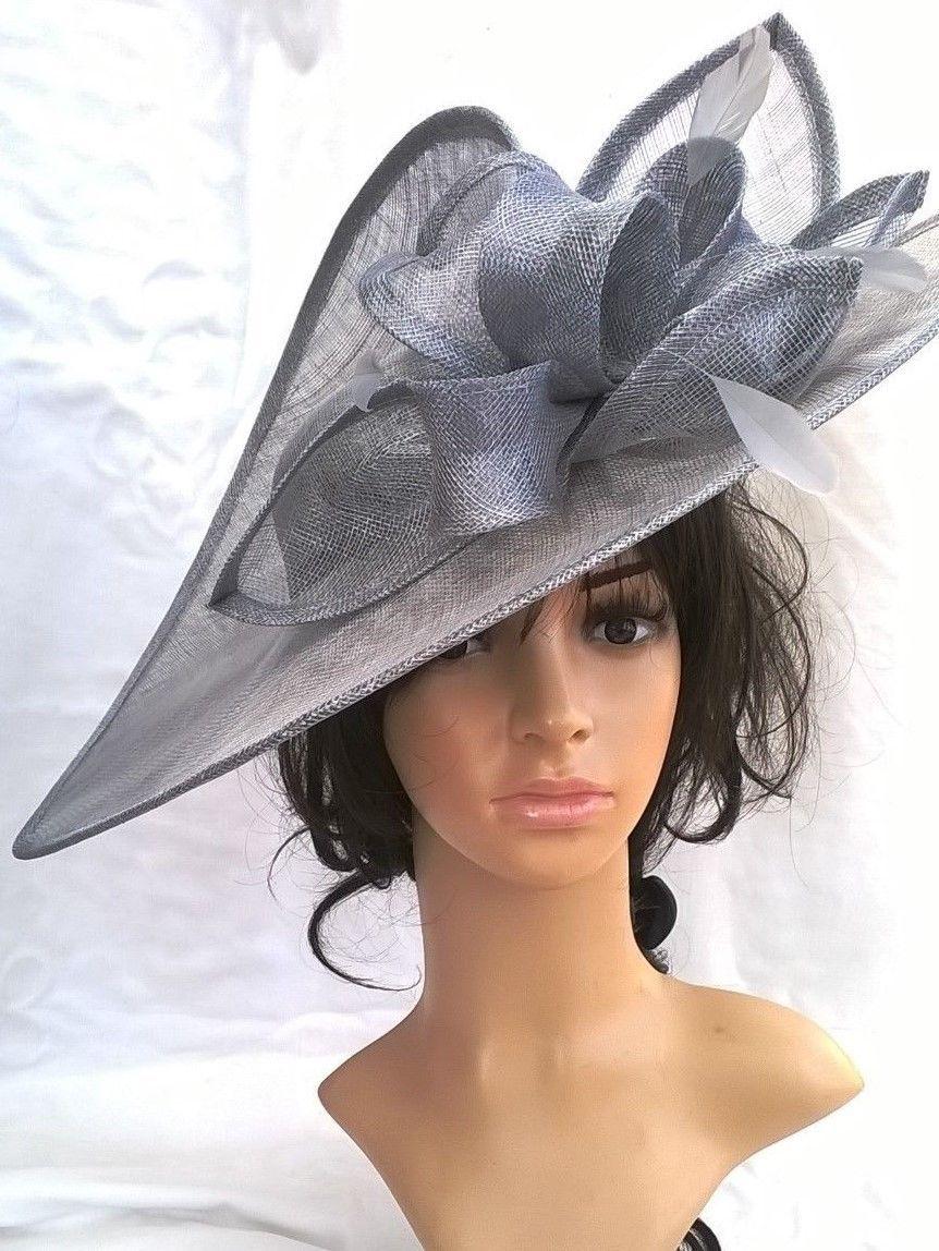 28e23e815f382 Nude Blush Sinamay & feather Hatinator Hat .Large disc Wedding.races..S.BRIM  | eBay