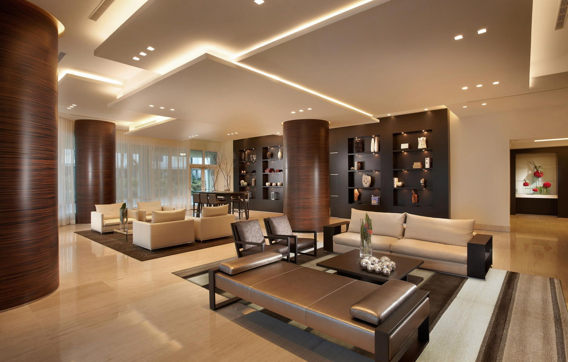 Modern Office Lobby Interior Design Neutral Color Theme Accents