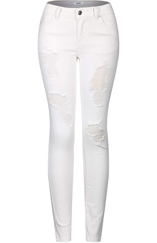 3b222caee69f 2LUV Womens Stretchy 5 Pocket Destroyed Dark Denim Skinny Jeans\u00c2 at Amazon  Womens Jeans
