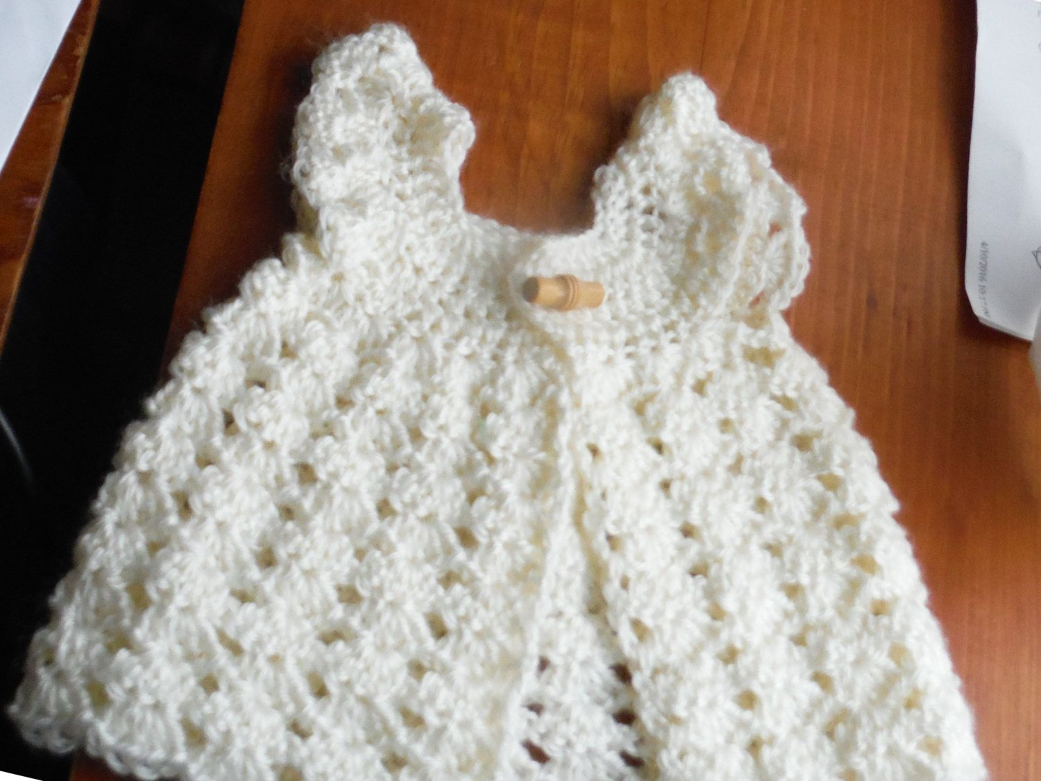Sweet Baby Girl Crocheted DOLL Sweater VEST, PREMIE Sweater vest, Ruffled sleeves, Shell stitch, white, front closure, by GrammasTreasure on Etsy