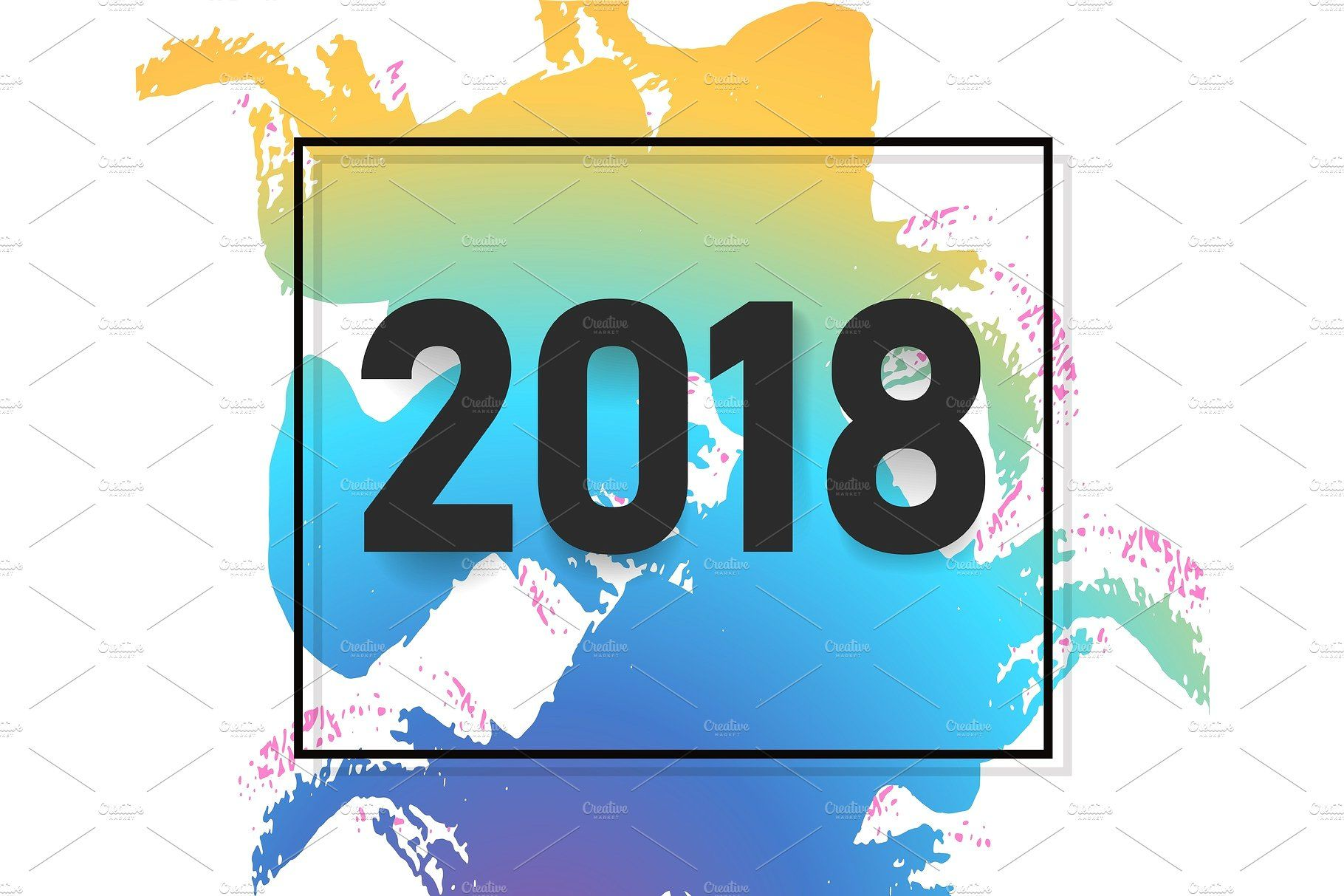 2018 new year text design. Vector illustration. For poster ...