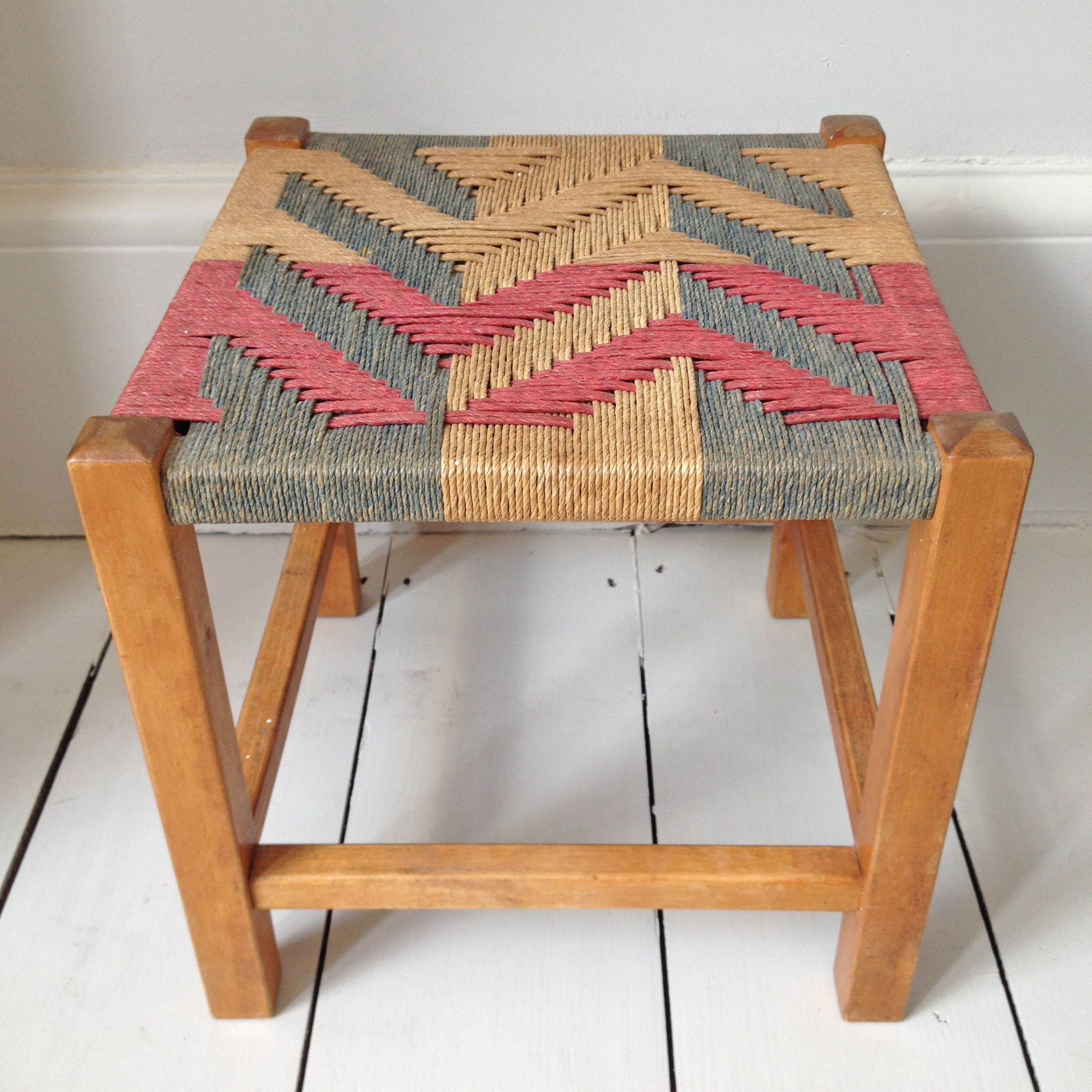 Terrific Woven Stool Aztec Small Stool With Wooden Legs And Great Ibusinesslaw Wood Chair Design Ideas Ibusinesslaworg