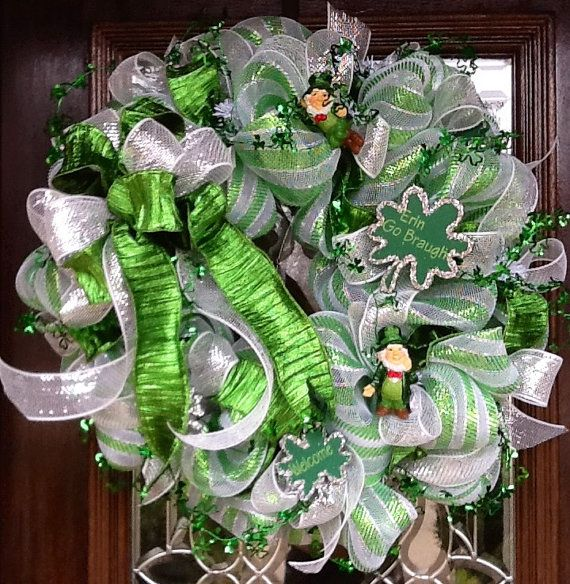 st patrick 39 s day deco mesh wreath by decoglitz on etsy burlap grapevine and mesh wreaths. Black Bedroom Furniture Sets. Home Design Ideas