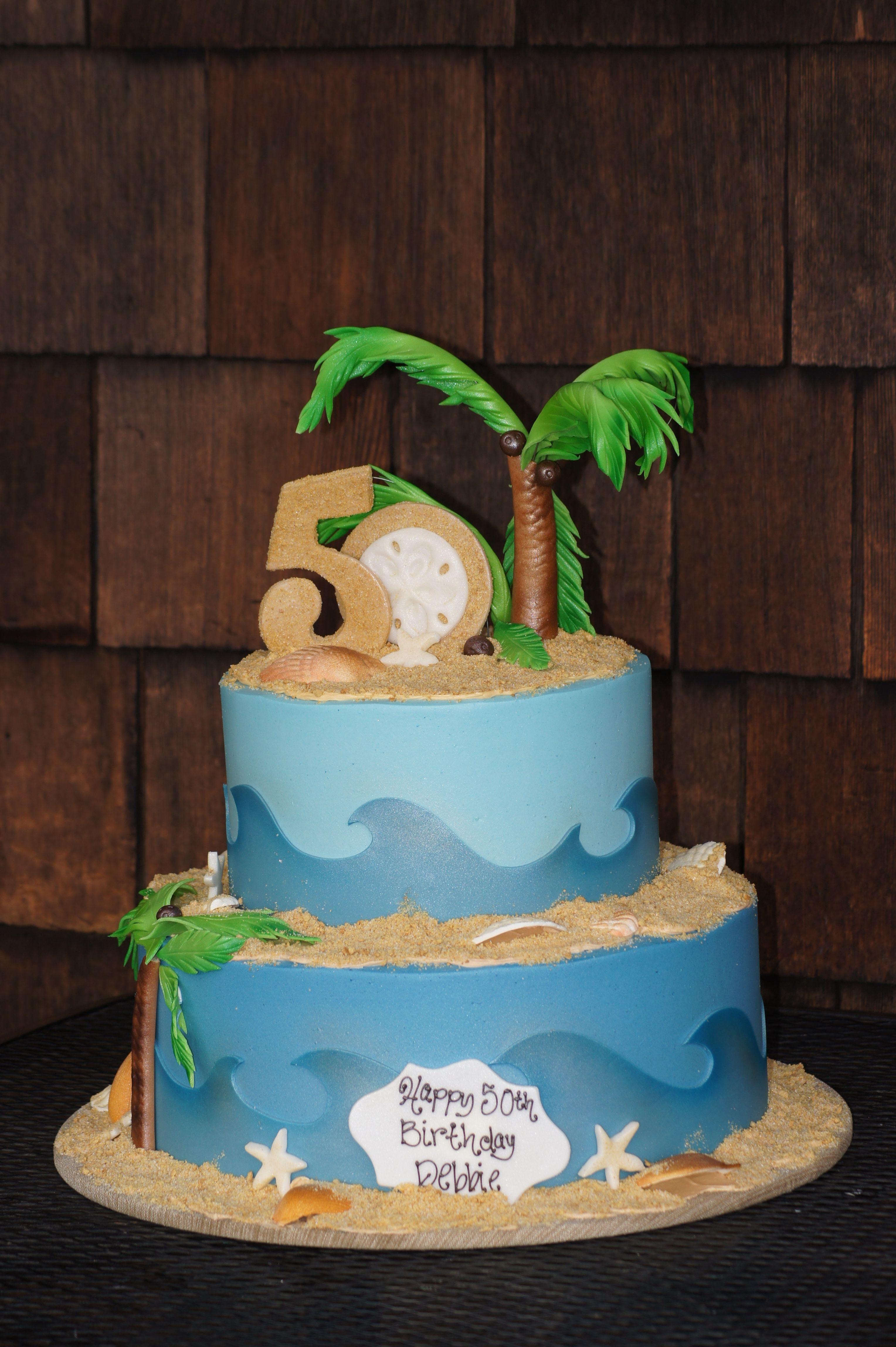 Fantastic Tiered Beach Themed Birthday Cake With Images Beach Birthday Funny Birthday Cards Online Overcheapnameinfo